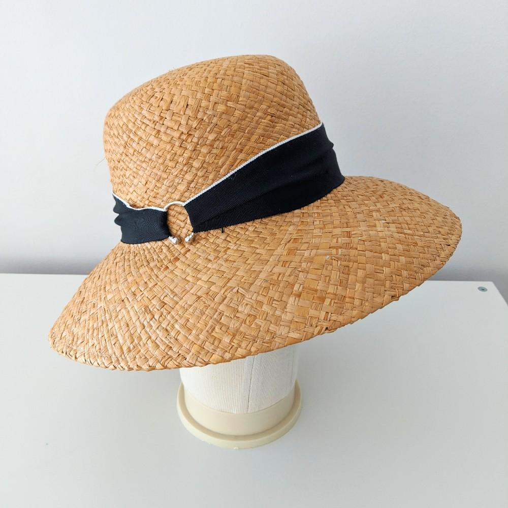 Hand-Woven Raffia Sun Hat Brown Black