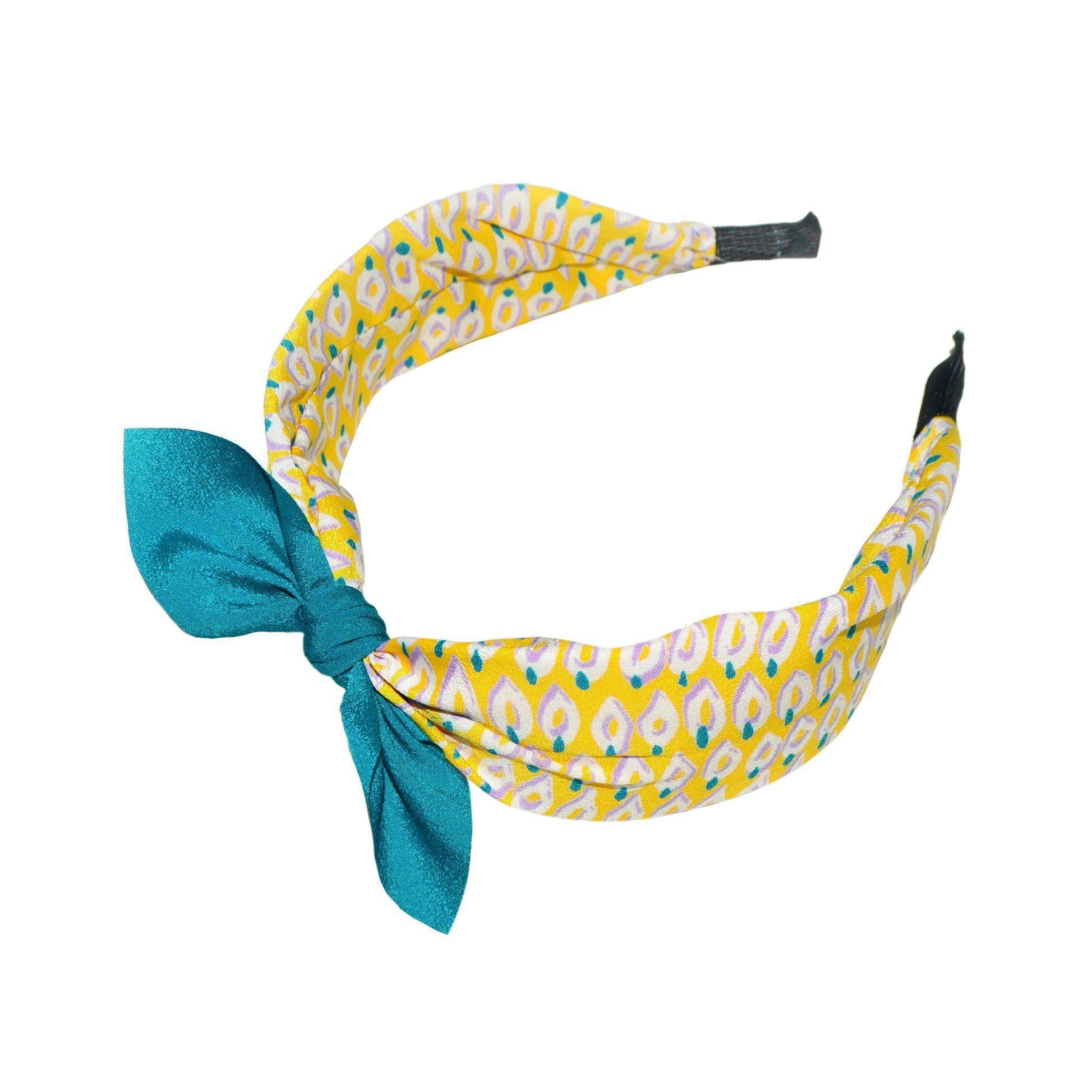 Handmade Abstract Pattern Headband-Headbands-Tegen Accessories-Yellow/Teal-Tegen Accessories