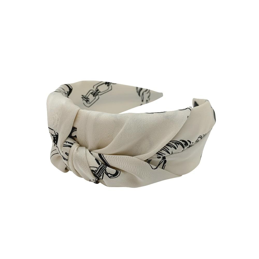 Handmade Chain Print Satin Headband - Tegen Accessories - Headband - Black