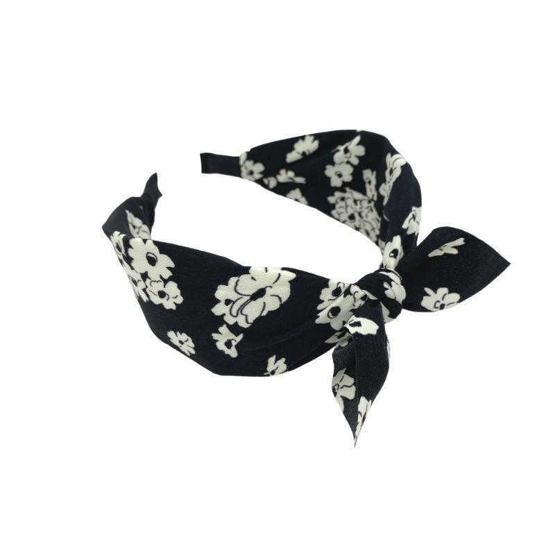 Handmade Ditsy Floral Headband-Headbands-Tegen Accessories-Black-Tegen Accessories Black White