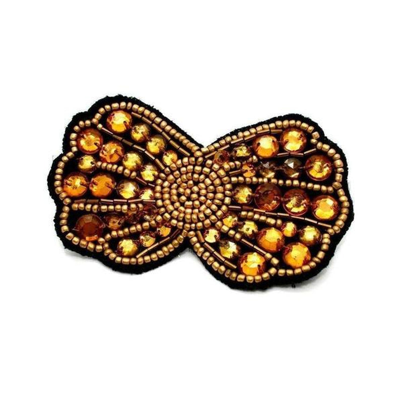 Handmade Gold Crystal Hair Clip and Bowtie-Discontinued-Gold-Tegen Accessories