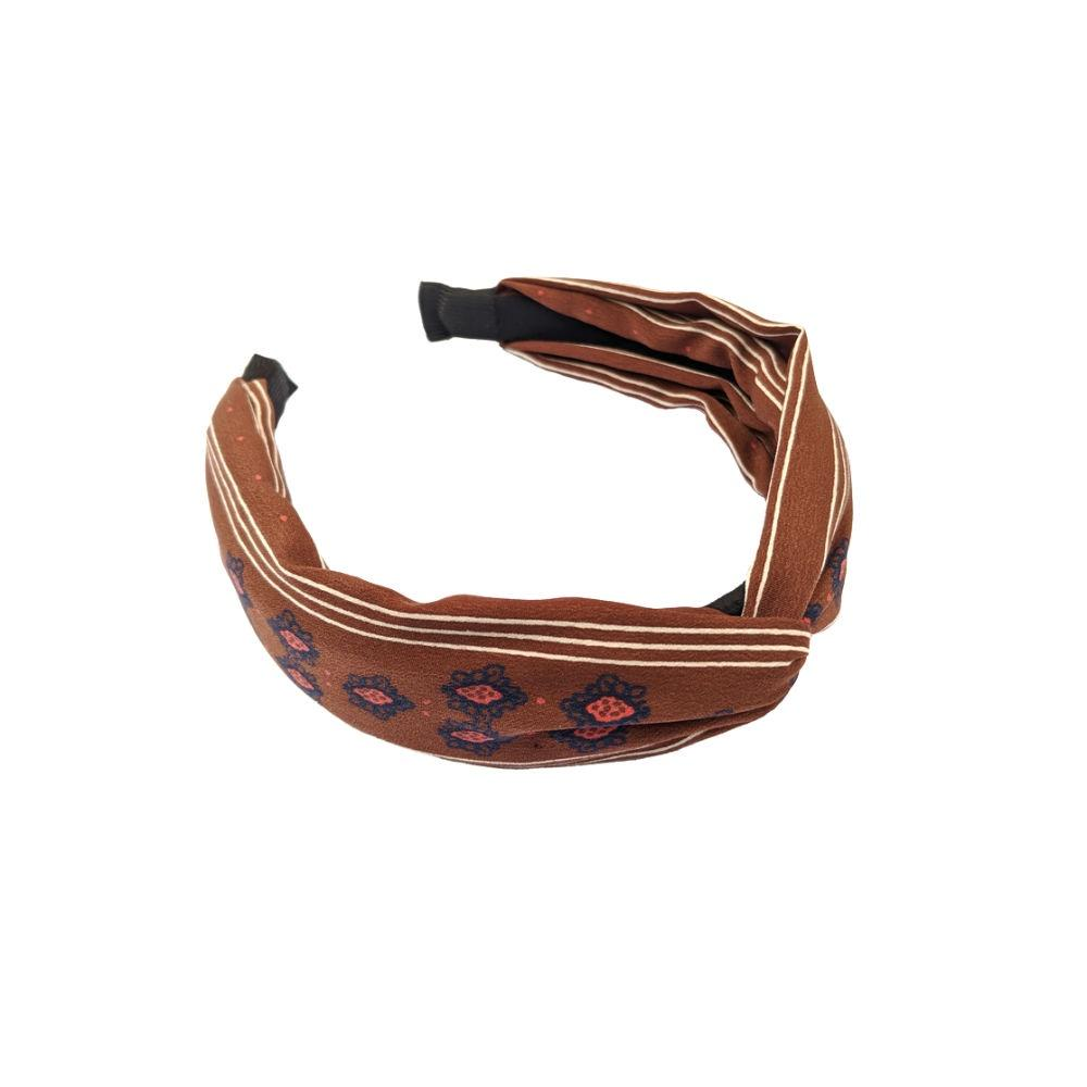 Handmade Paisley Print Headband-Headbands-Tegen Accessories-Brown-Tegen Accessories