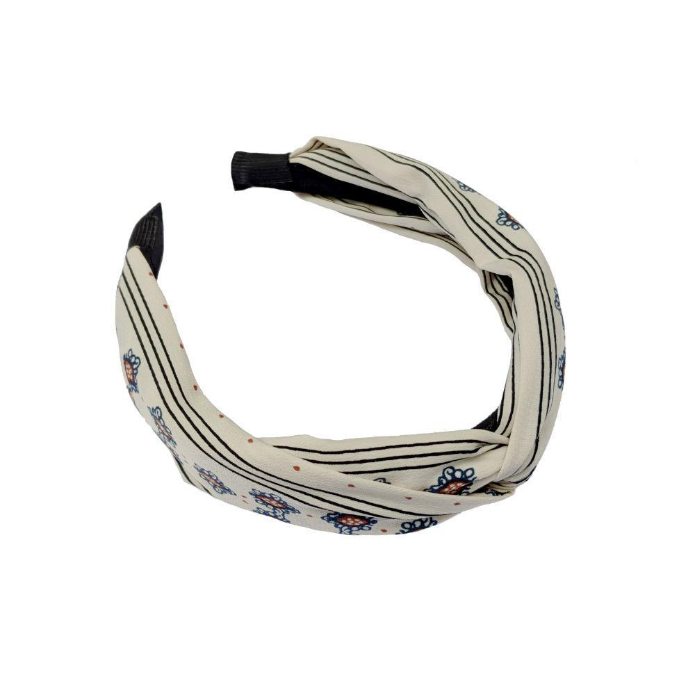 Handmade Paisley Print Headband-Headbands-Tegen Accessories-White-Tegen Accessories