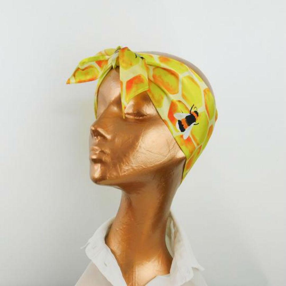 Honey Bee Print Silk Scarf-Scarves-Also the Bison-Tegen Accessories