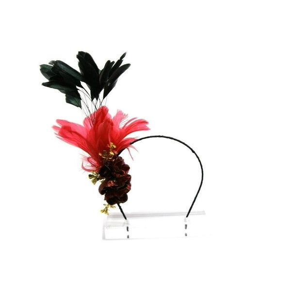 Hot Pink & Gold Feather Fascinator-Fascinators-Rosie Fox-Pink-Tegen Accessories Pink Red