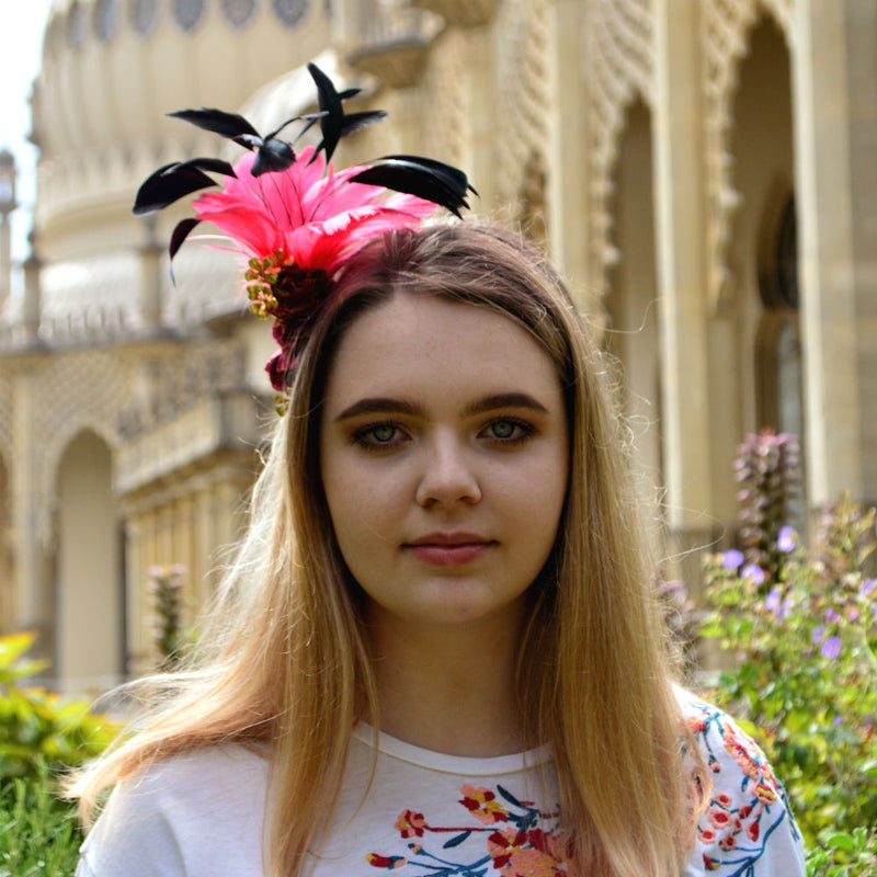 Hot Pink & Gold Feather Fascinator-Fascinators-Rosie Fox-Pink-Tegen Accessories