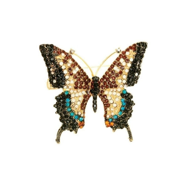Imperial Crystal Butterfly Hairclip & Brooch-Brooches-Rosie Fox-Bronze Crystal-Tegen Accessories