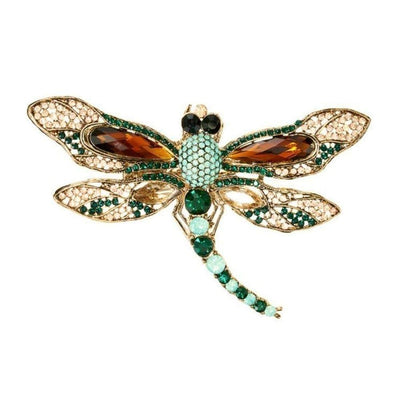 Imperial Crystal Dragonfly Hairclip & Brooch-Brooches-Rosie Fox-Emerald Crystal-Tegen Accessories