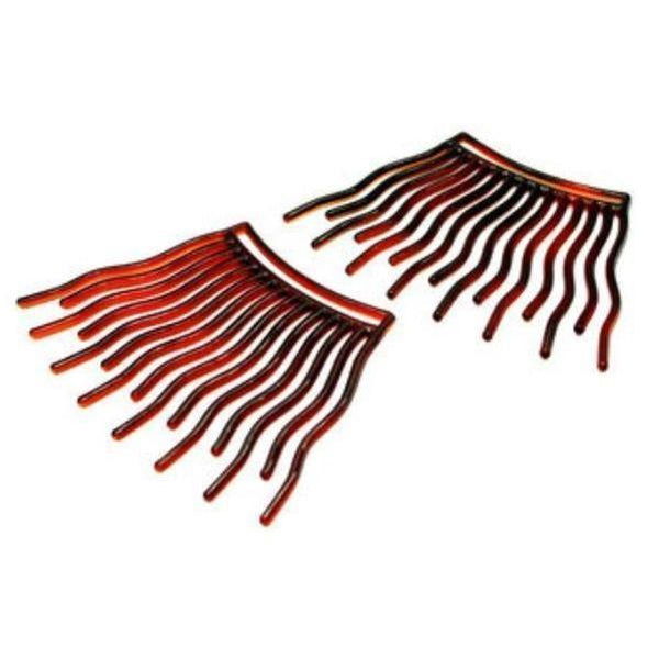 Interlocking Hair Combs-Hair combs-Essentials-Tortoiseshell-Tegen Accessories Brown