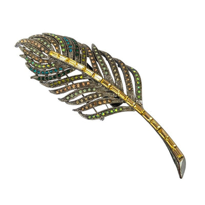 Iridescent Crystal Leaf Hair Clip/Brooch-Brooches-Rosie Fox-Tegen Accessories