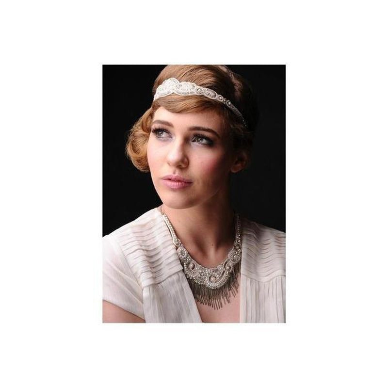Ivory Swarovski Crystal Flapper Necklace-Necklaces-Eliza Vale-Ivory-Tegen Accessories