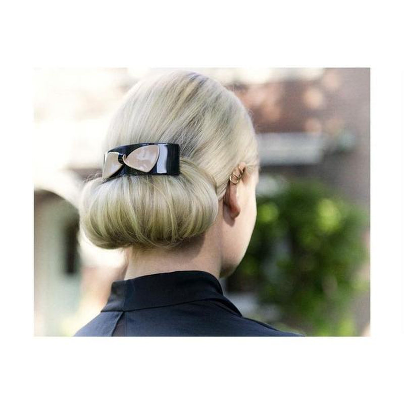 Large Arched Bow Barrette-Barrettes-Ooh La La!-Black-Tegen Accessories