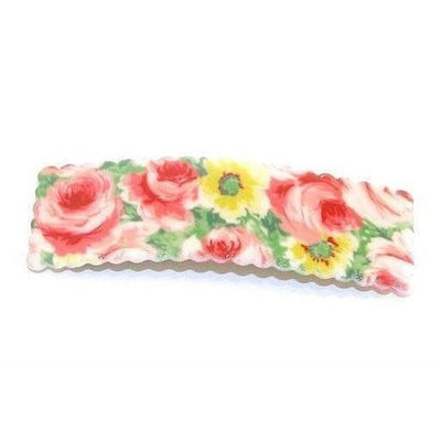 Large Floral Snap Clip-Snap clips-Children-Green/Pink-Tegen Accessories