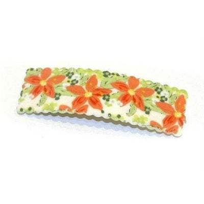 Large Floral Snap Clip-Discontinued-Orange/Green-Tegen Accessories