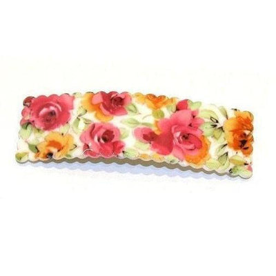 Large Floral Snap Clip-Discontinued-Pink/Orange-Tegen Accessories