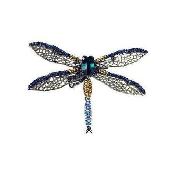 Large Midnight Dragonfly Hair Clip & Brooch-Brooches-Rosie Fox-Pewter-Tegen Accessories