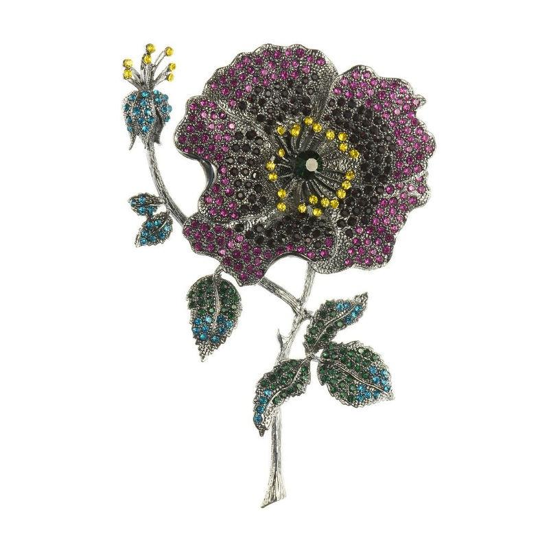 Large Summer Crystal Rose Hair Clip and Brooch-Brooches-Rosie Fox-Tegen Accessories Purple