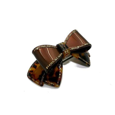 Large Swarovski Crystal Bow Barrette-Discontinued-Dark Tokio/Brown Top Bow-Tegen Accessories