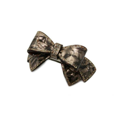 Large Swarovski Crystal Bow Barrette-Discontinued-Onyx-Tegen Accessories