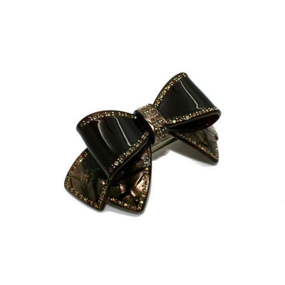 Large Swarovski Crystal Bow Barrette-Discontinued-Onyx/Brown Top Bow-Tegen Accessories