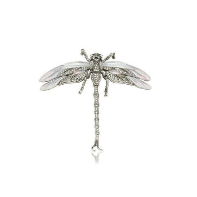 Large Swarovski Dragonfly Barrette-Discontinued-Grey-Silver-Tegen Accessories