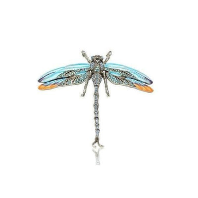 Large Swarovski Dragonfly Barrette-Discontinued-Pale Blue-Silver-Tegen Accessories