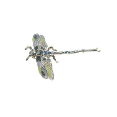 Large Swarovski Dragonfly Barrette-Discontinued-Pale Green-Silver-Tegen Accessories