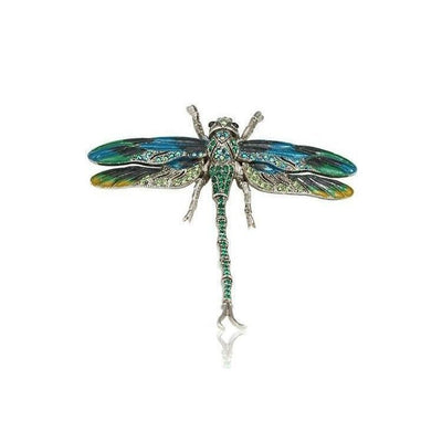 Large Swarovski Dragonfly Barrette-Discontinued-Peacock-Silver-Tegen Accessories