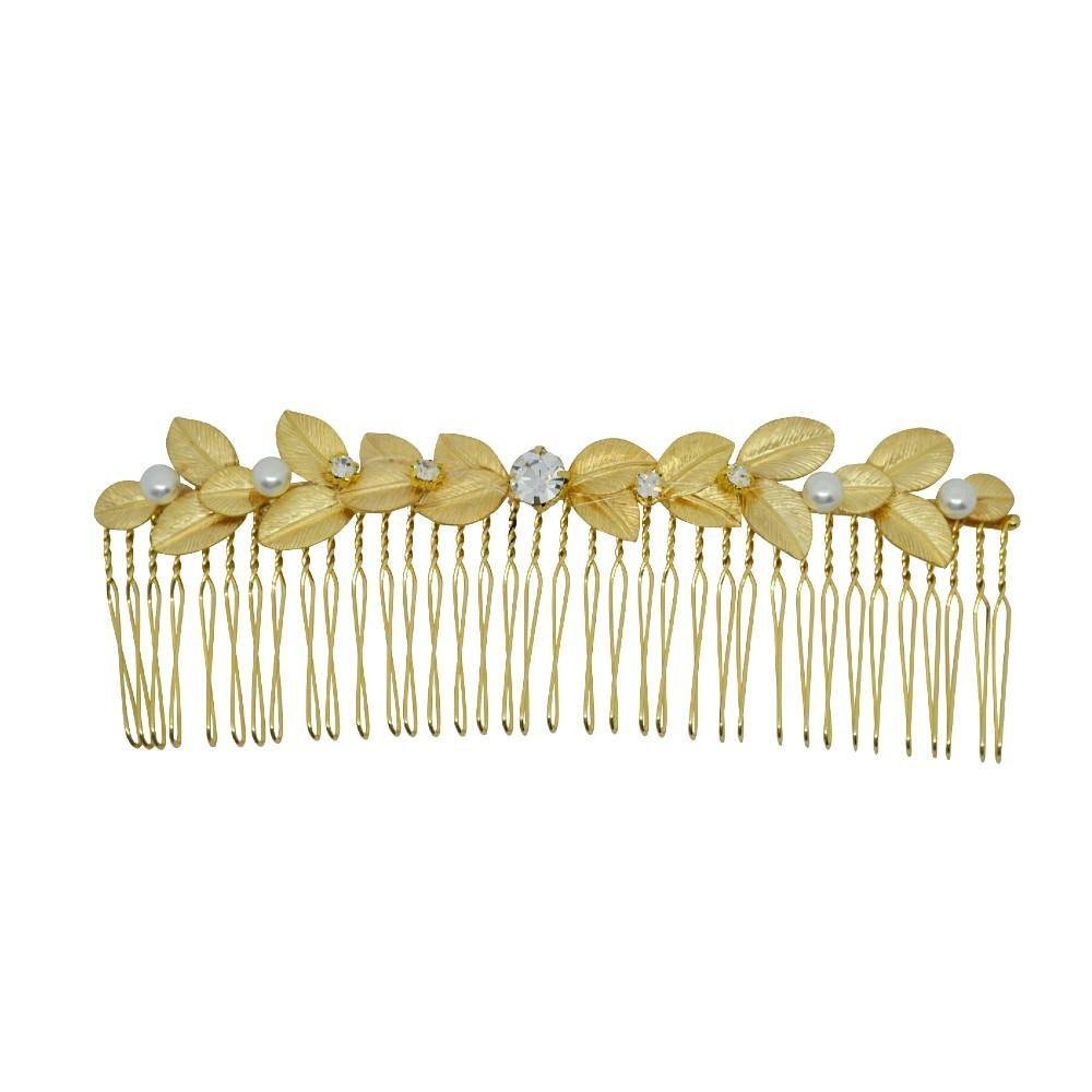 Long Gold Crystal & Pearl Leaf Hair Comb Gold