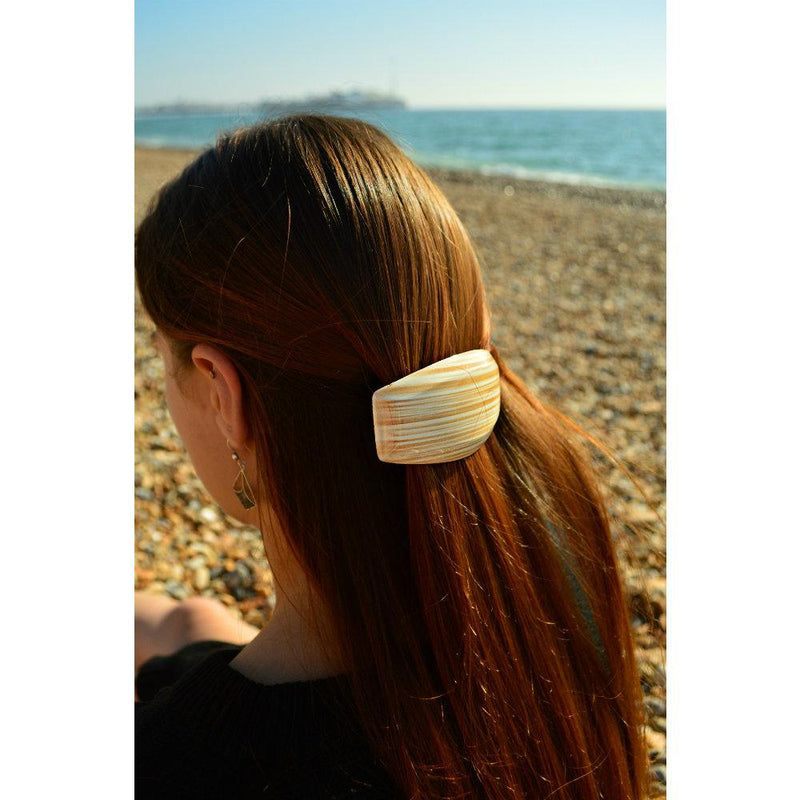 Long Rectangular Barrette-Barrettes-Essentials-Beige-Tegen Accessories