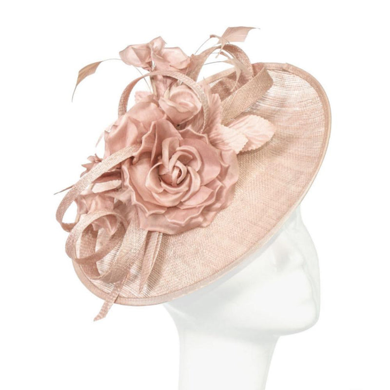Looped Flower Disc Fascinator-Fascinators-Peter Bettley-Rose-Tegen Accessories