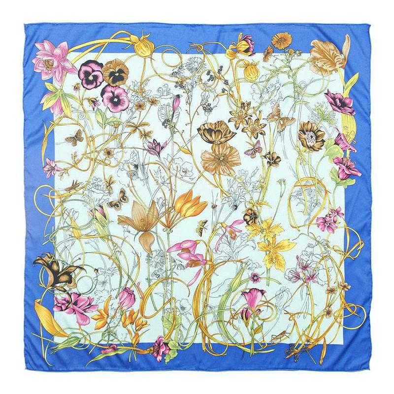 Meadow Print Silk Scarf-Scarves-Rosie Fox-Blue-Tegen Accessories