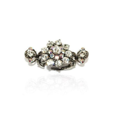 Medium Floral Duo Spring Swarovski Crystal Hair Claw-Discontinued-Clear Crystal-Silver-Tegen Accessories