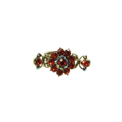 Medium Floral Duo Spring Swarovski Crystal Hair Claw-Discontinued-Red Crystal-Gold-Tegen Accessories