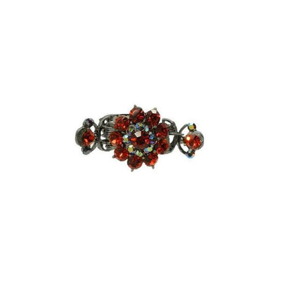 Medium Floral Duo Spring Swarovski Crystal Hair Claw-Discontinued-Red Crystal-Silver-Tegen Accessories