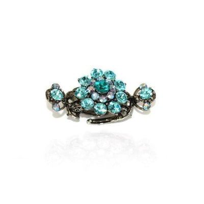 Medium Floral Duo Spring Swarovski Crystal Hair Claw-Discontinued-Turquoise Crystal-Silver-Tegen Accessories