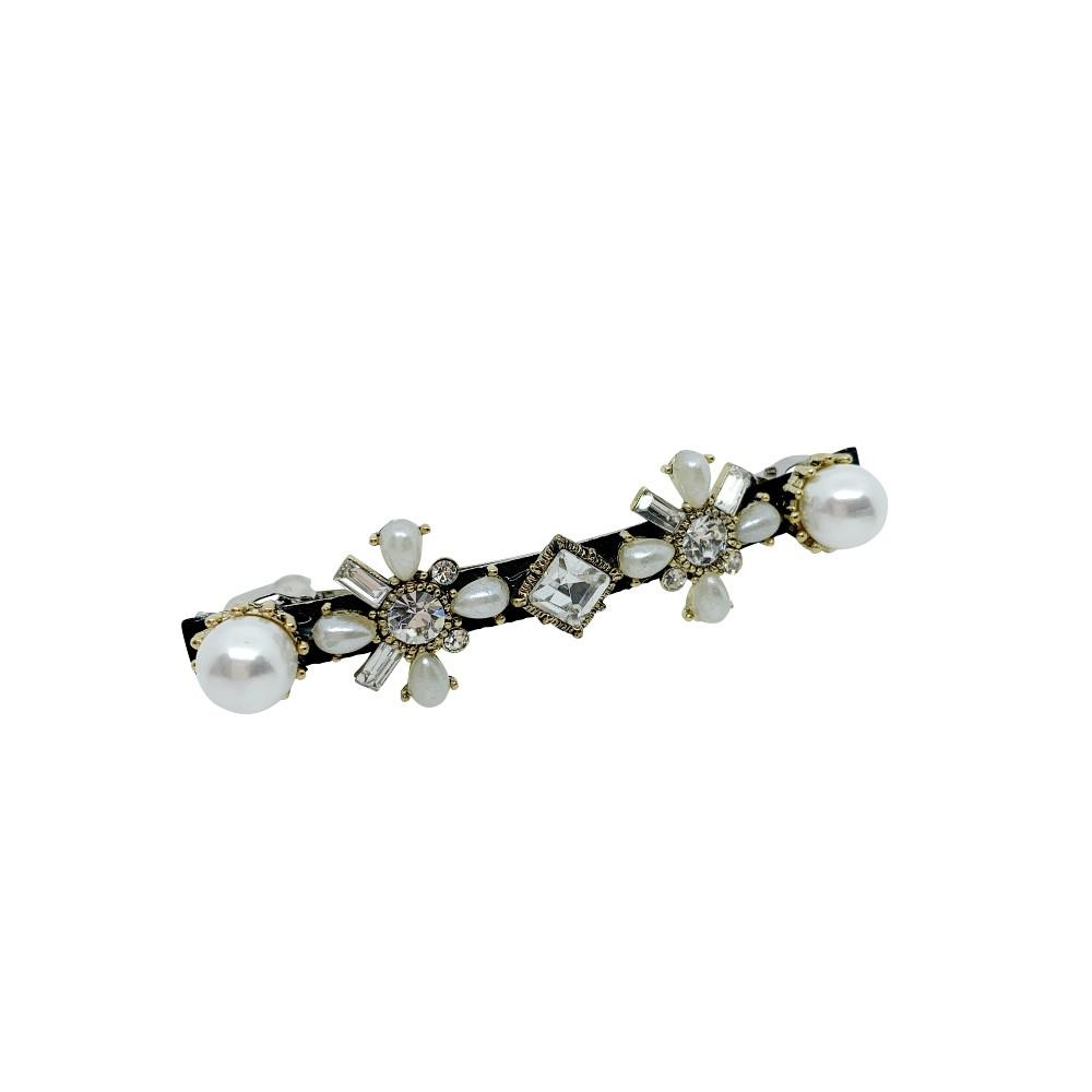 Mini Art Deco Swarovski Crystal Barrette-Swarovski Crystal-Barrettes-Tegen Accessories-Pearl Crystal
