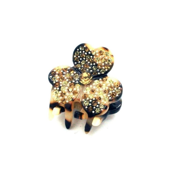 Mini Clover Swarovski Crystal Hair Claw