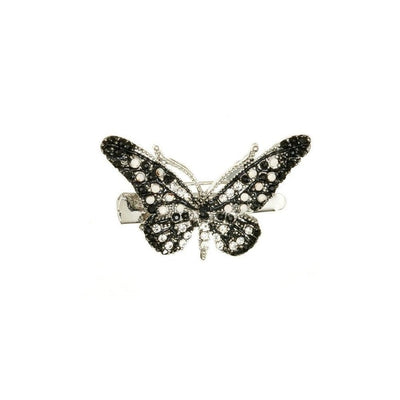 Mini Crystal Butterfly Brooch & Hairclip-Discontinued-Black Crystal-Tegen Accessories