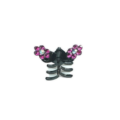 Mini Crystal Flower Hair Claw-Hair claws-Tegen Accessories-Fuchsia Crystal-Tegen Accessories