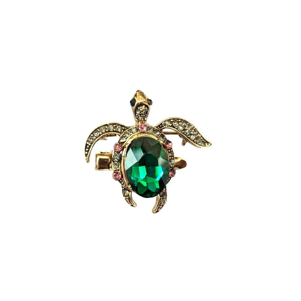 Mini Emerald Crystal Turtle Hair Clip/Brooch-Brooches-Rosie Fox-Tegen Accessories