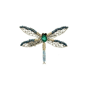 Mini Midnight Dragonfly Hairclip and Brooch-Brooches-Rosie Fox-Navy Crystal-Tegen Accessories
