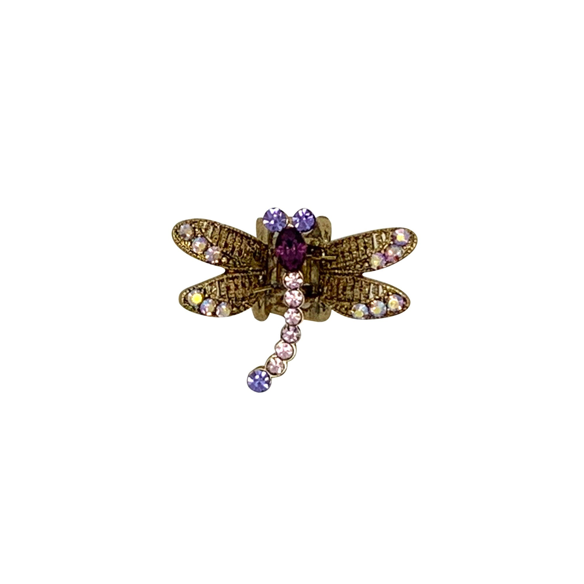 Mini Swarovski Crystal Dragonfly Hairclaw-Hair claws-Swarovski Crystal-Fuchsia Crystal-Tegen Accessories Pink