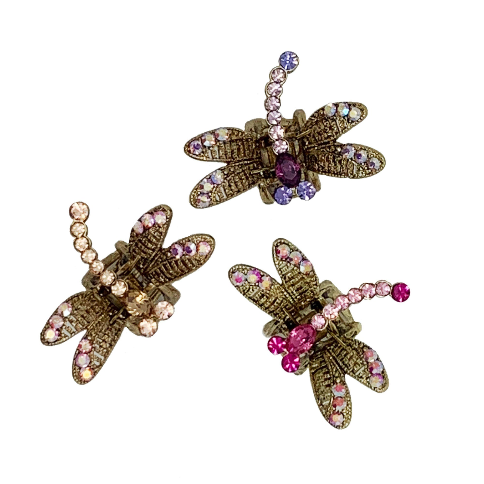 Mini Swarovski Crystal Dragonfly Hairclaw-Hair claws-Swarovski Crystal-Tegen Accessories