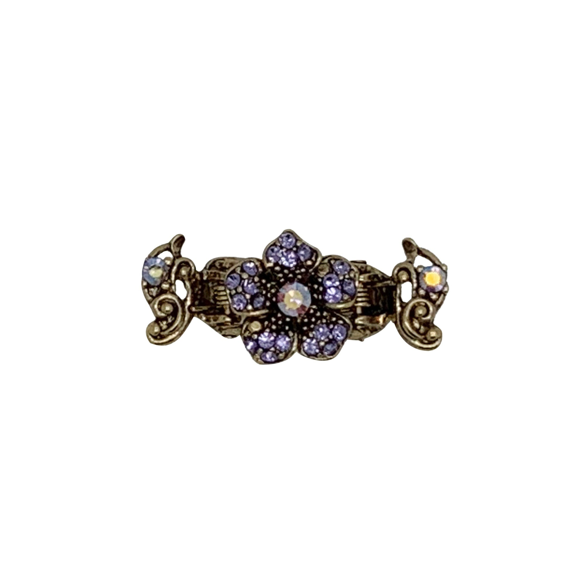 Mini Swarovski Crystal Duo Spring Hair Clip-Hair claws-Swarovski Crystal-Violet Crystal-Gold-Tegen Accessories