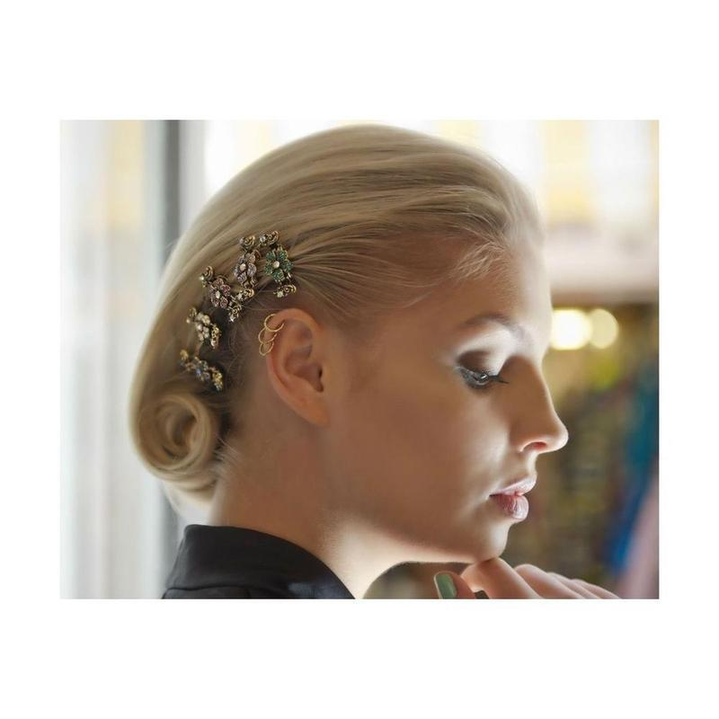 Mini Swarovski Crystal Flower Hair Claw-Hair claws-Swarovski Crystal-Blue Crystal-Gold-Tegen Accessories Blue