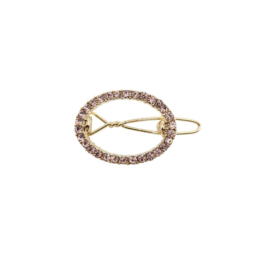 Mini Swarovski Crystal Oval Hair Clip-Swarovski Crystal-Clips & Slides-Tegen Accessories-Rose Gold Crystal