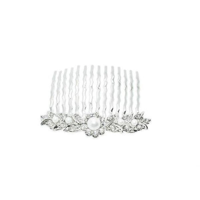 Mini Swarovski Leaves Comb-Discontinued-Pearl-Tegen Accessories