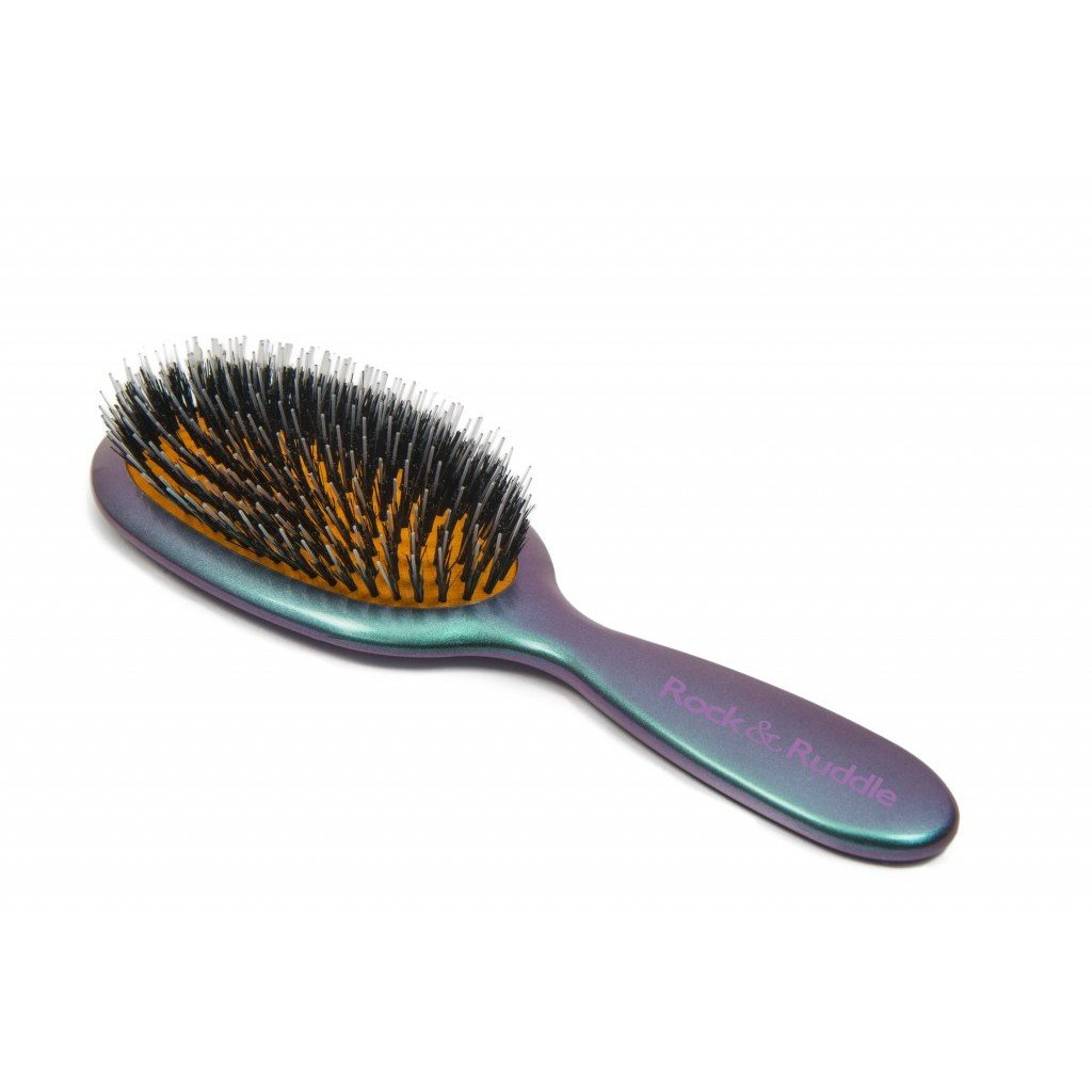 Natural Bristle Hairbrush Green & Purple Shimmer-Hairbrushes and combs-Rock & Ruddle-Large-Tegen Accessories