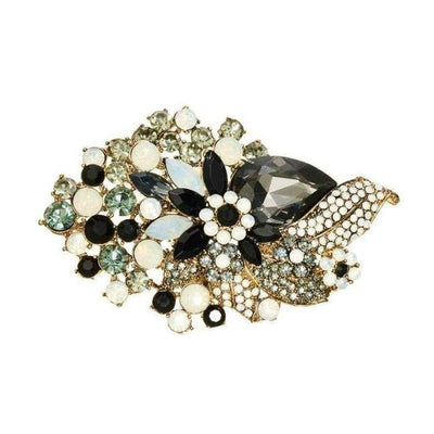 Monochrome Crystal Bouquet Hairclip And Brooch-Discontinued-Tegen Accessories